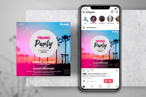 Tropic Party Free Instagram Banner Template (PSD)