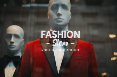 Logo on Window Glass Store Free Mockup