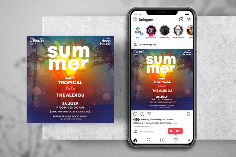 Tropical Party Free Instagram Banner (PSD)