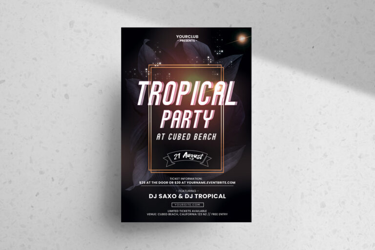 Dark Tropical Party Free Flyer Template (PSD)
