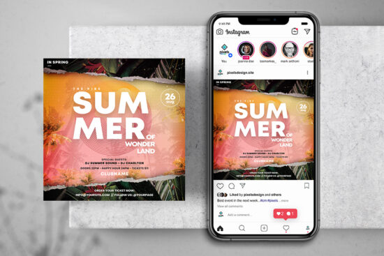 Tropical DJ Events Free Instagram Banner (PSD)