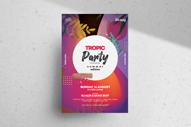 Tropical Vibe Event Free PSD Flyer Template