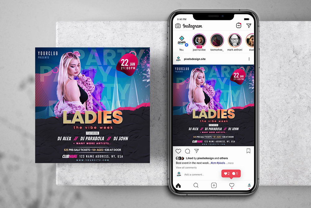 Girls Party Free Instagram Party PSD Template