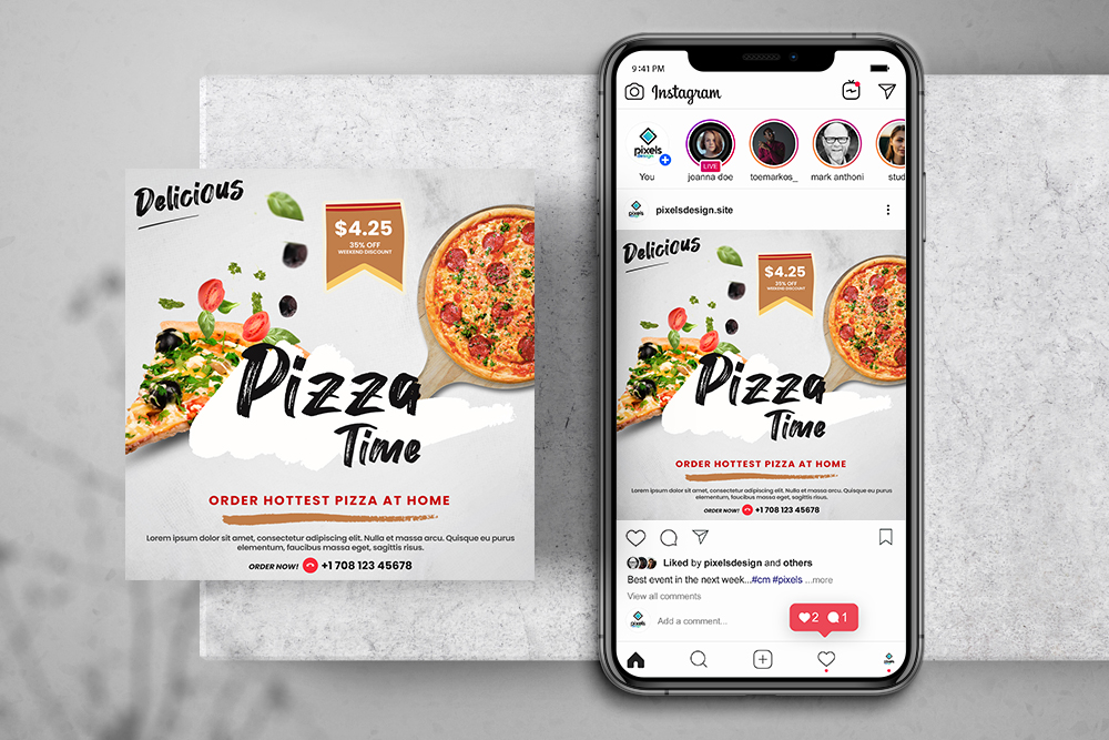 Pizza Delivery Free Instagram PSD Banner