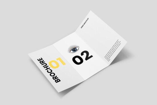 Opened Tri-Fold Brochure Free Mockup
