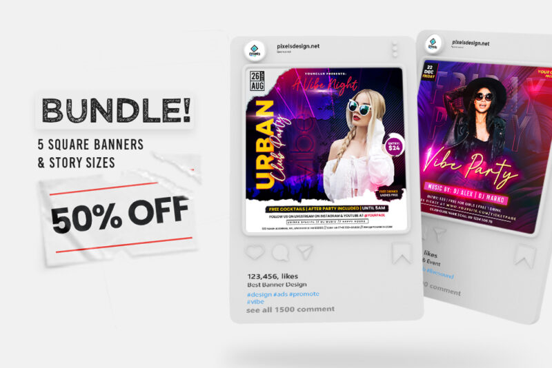 50% OFF | 5 Club Party Instagram Banner Templates