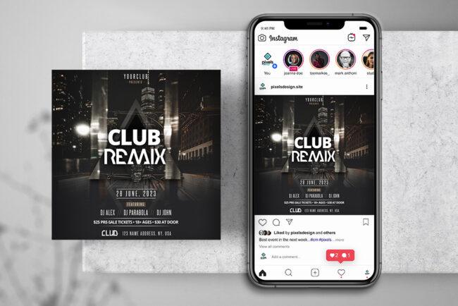 Black Party DJ Instagram PSD Templates