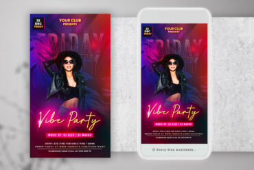 Friday Neon Party Instagram PSD Templates