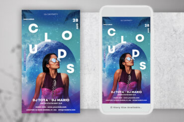 Futuristic Cloud Party Instagram PSD Templates