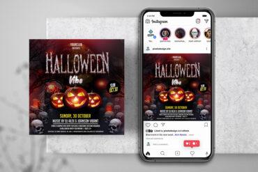Halloween Skull Party Instagram PSD Templates