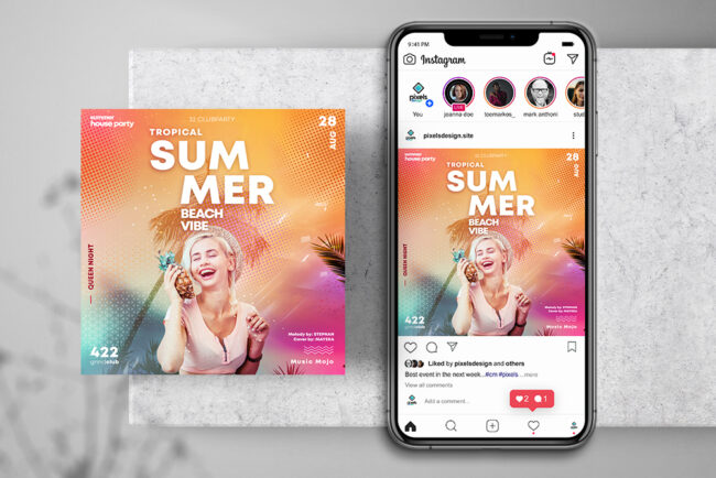 Summer House Music Instagram PSD Templates