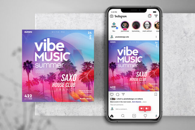 Summer Time Ad Instagram PSD Template