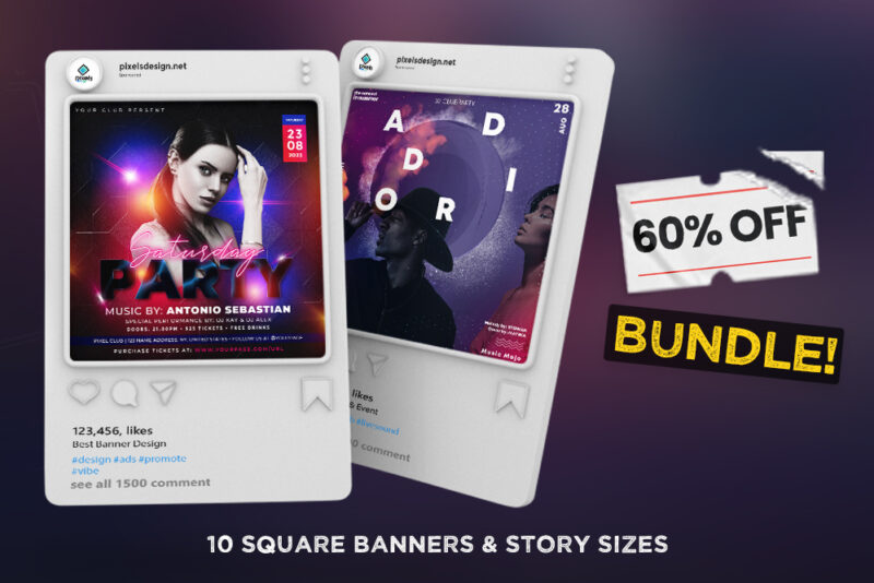 60% OFF | 10 Party Instagram Templates